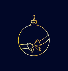 simple golden christmas tree ball with ribbon bow vector image vector image
