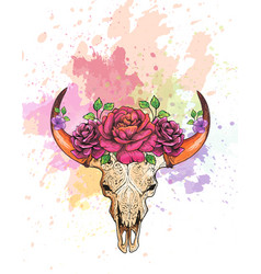 Skull of a cow with horns decorated with flowers vector
