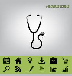 Stethoscope sign black icon vector