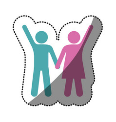 Sticker silhouette color pictogram man and woman vector