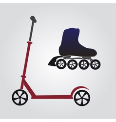 summer sports - scooter and inline skate eps10 vector image