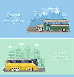 Travel by bus concept banners vector