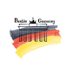 travel germany sign berlin famous brandenburg vector image