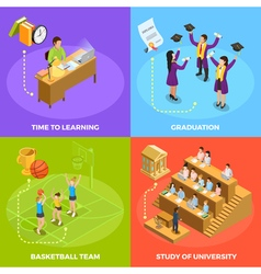 University people 4 isometric icons square vector