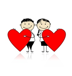 Valentine day Couple with big red hearts for your vector image vector image