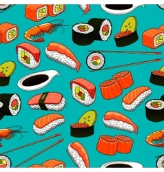 Sushi and rolls seamless pattern background vector