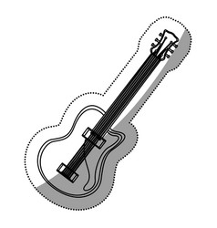 monochrome contour silhouette with electric guitar vector image