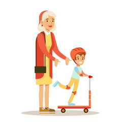 Grandmother teaching boy to ride scooter part of vector