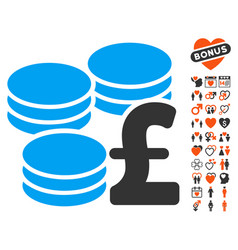 Pound coins icon with dating bonus vector