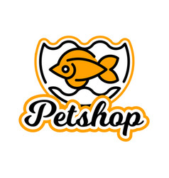 the logo on the theme of shop for pets fish vector image