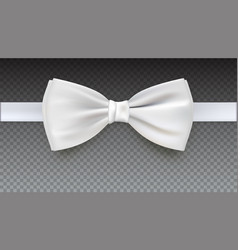 Realistic white bow tie vector