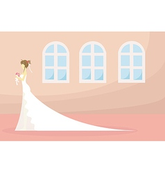 Bride and wedding ceremony pray in church vector