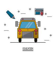 White background poster of education with school vector