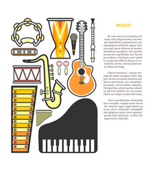 Article about music with instruments cartoon vector