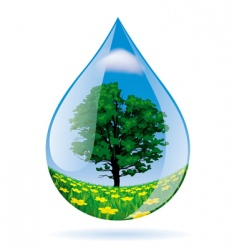 Water drop with a landscape vector