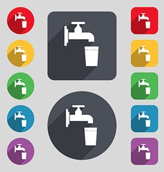 Faucet glass water icon sign a set of 12 colored vector