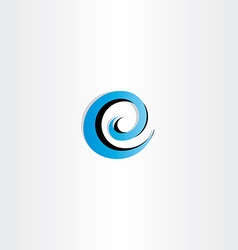 Letter e logo water wave spiral icon vector