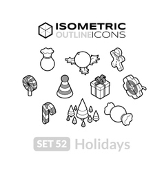 Isometric outline icons set 52 vector
