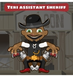 Cartoon character in wild west - sheriff assistant vector