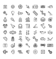 Car parts line icons set vector