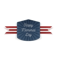 Happy memorial day festive emblem with ribbon vector