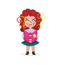 adorable beautiful little girl standing and vector image vector image