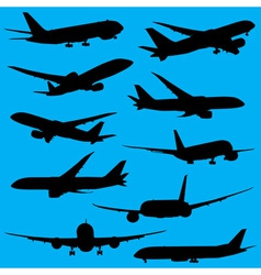 Airplanes silhouettes part 2 vector image vector image