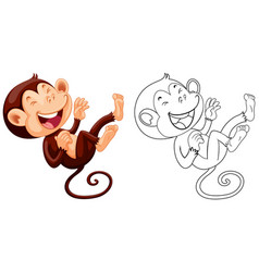 animal outline for monkey laughing vector image vector image