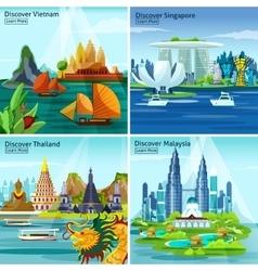 Asian Travel 2x2 Design Concept vector image vector image