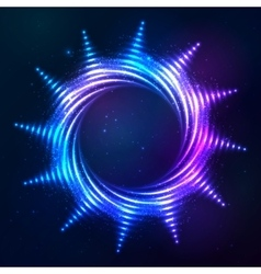 Bright shining blue neon spiral sun at dark cosmic vector image vector image