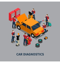 Car diagnostic auto center isometric composition vector