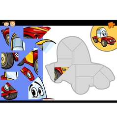 Cartoon car jigsaw puzzle game vector