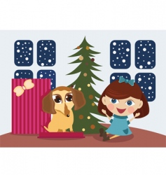 Christmas gift puppy vector