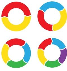 Circle chart set color vector image vector image