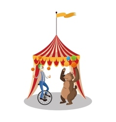 Clown and bear of circus and carnival design vector