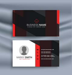 Dark corporate business card with profile photo vector