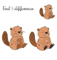 Find differences kids layout for game beaver vector
