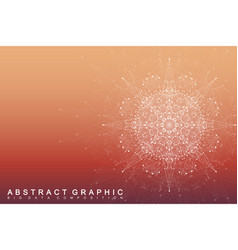 fractal element with connected lines and dots big vector image vector image