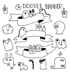 funny monster animal hand drawn with frame for vector image vector image