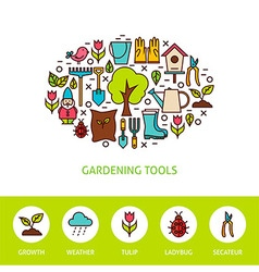 Gardening Tools Flat Outline Design Template with vector image