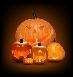 halloween background pumpkins vector image