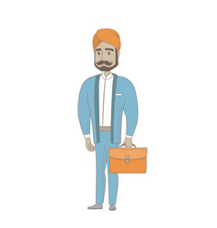 Hindu businessman holding briefcase vector
