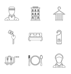 Hotel icons set outline style vector