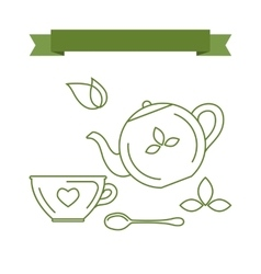 Icons and symbols with the theme of tea vector image vector image