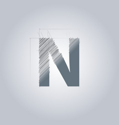 Letter n logo alphabet logotype architectural vector