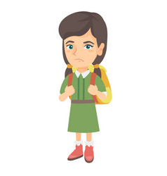 little caucasian sad schoolgirl carrying backpack vector image