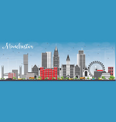 manchester skyline with gray buildings and blue vector image vector image
