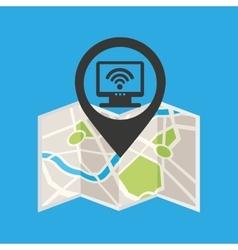 Monitor wireless concept wifi pin icon vector