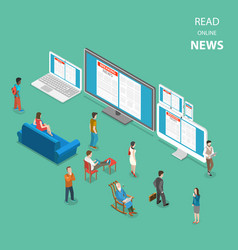 Online news flat isometric concept vector