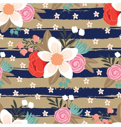 pattern with flowers and strips vector image vector image